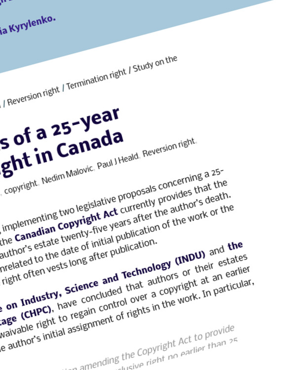 Fairness Rocks News Study on the implications of a 25-year reversion/termination right in Canada
