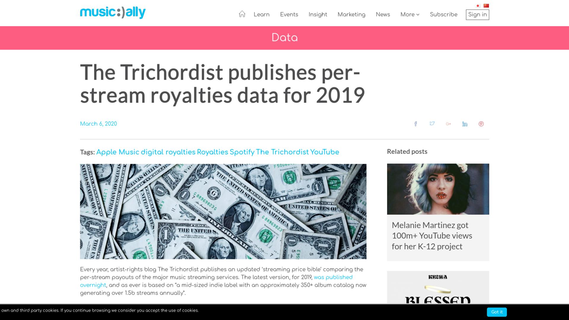 Fairness Rocks News The Trichordist publishes per-stream royalties data for 2019