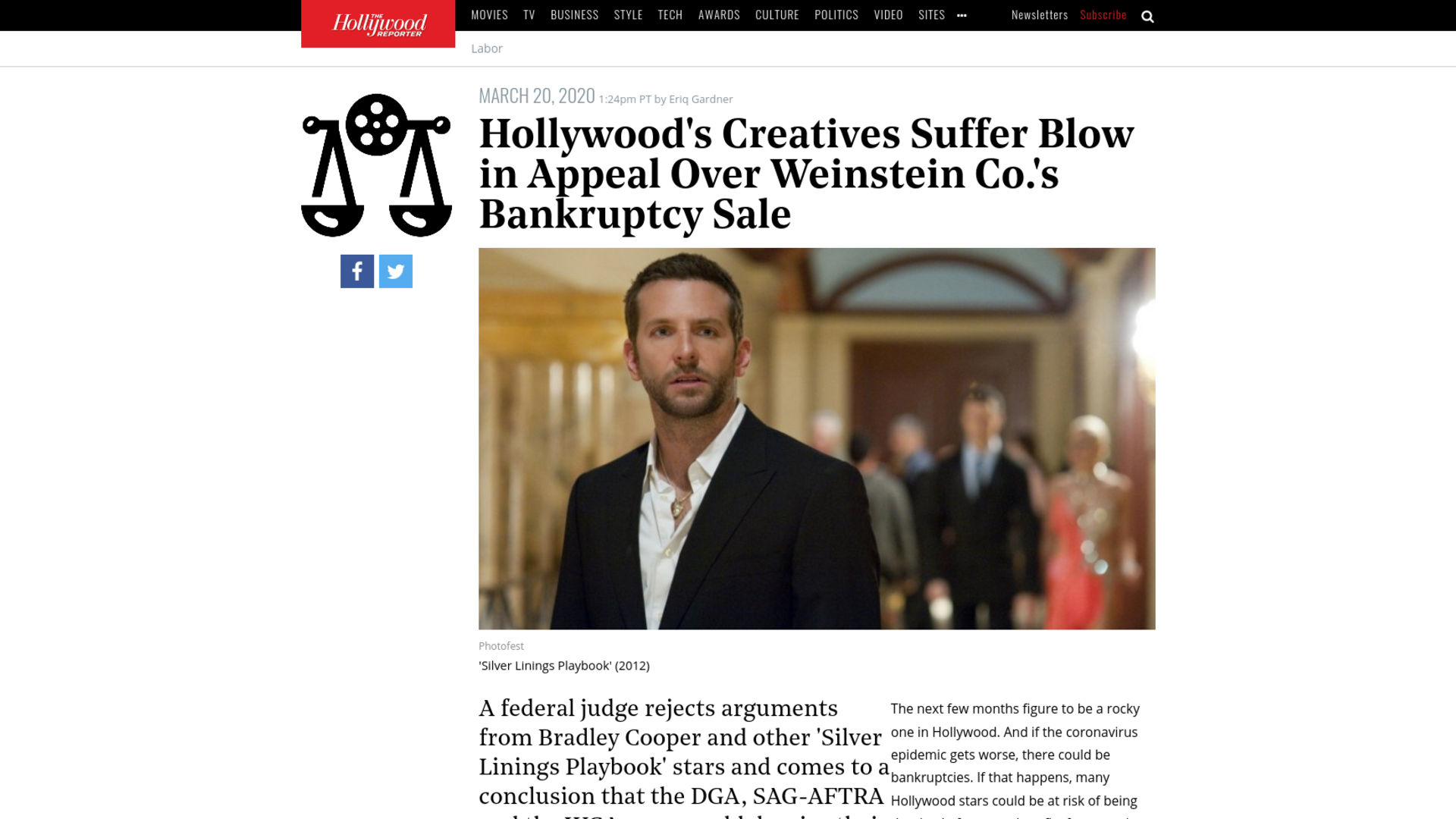 Fairness Rocks News Hollywood's Creatives Suffer Blow in Appeal Over Weinstein Co.'s Bankruptcy Sale