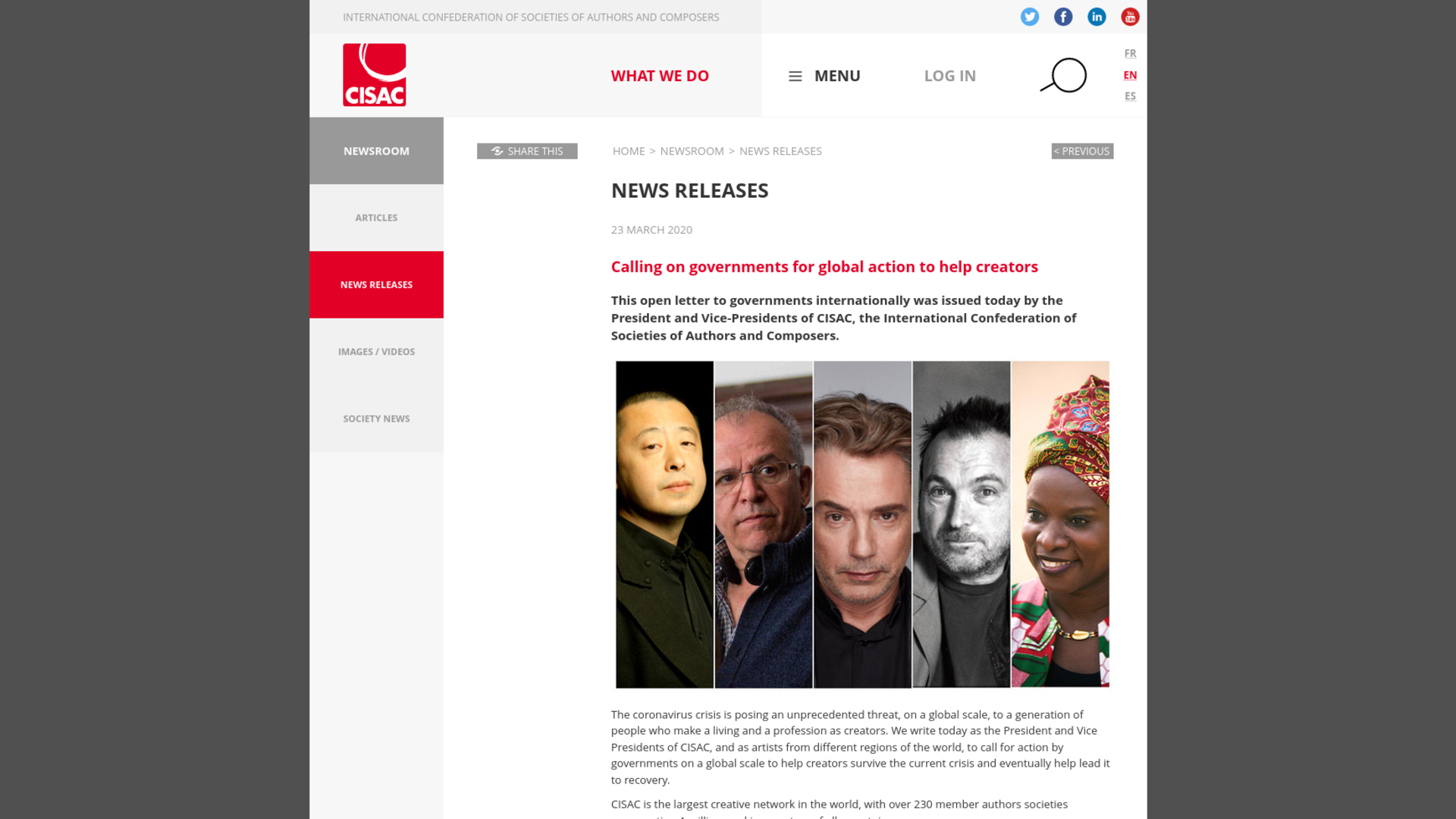 Fairness Rocks News Calling on governments for global action to help creators