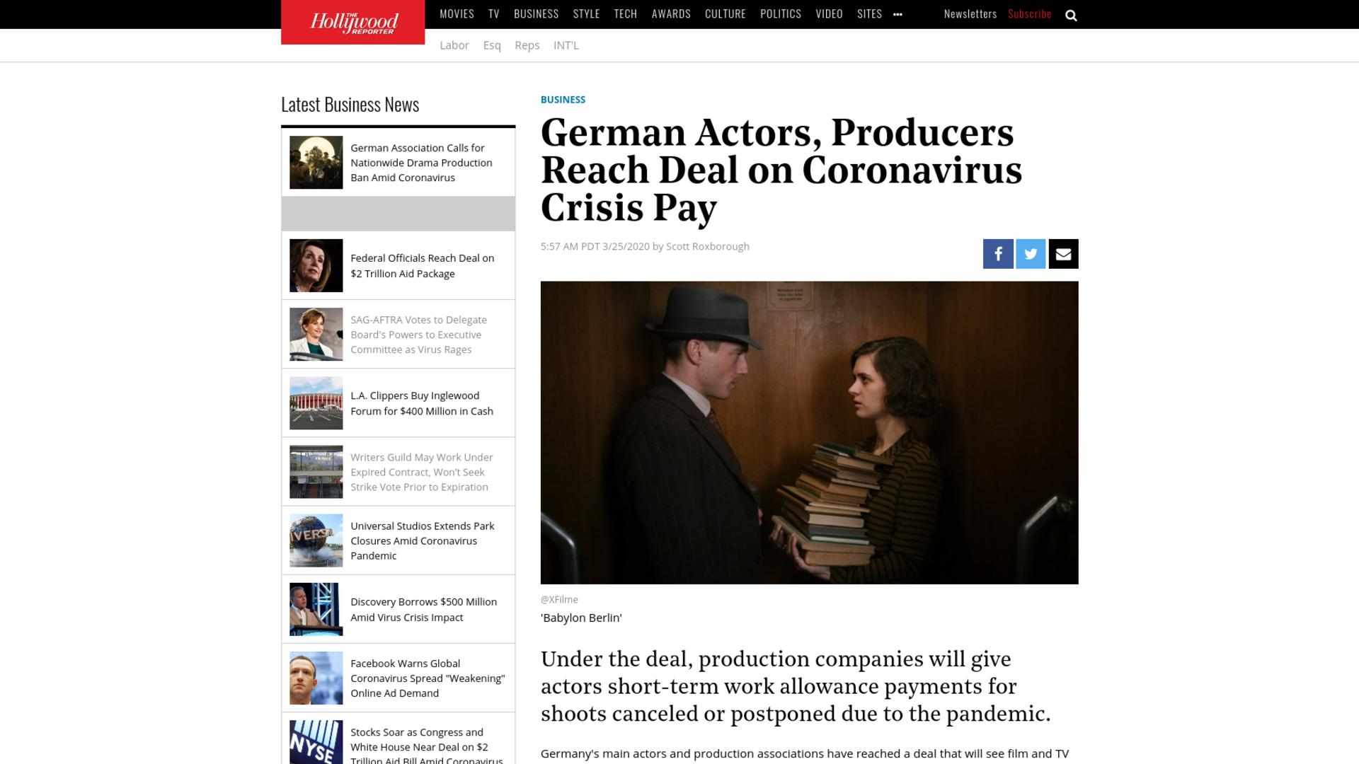 Fairness Rocks News German Actors, Producers Reach Deal on Coronavirus Crisis Pay