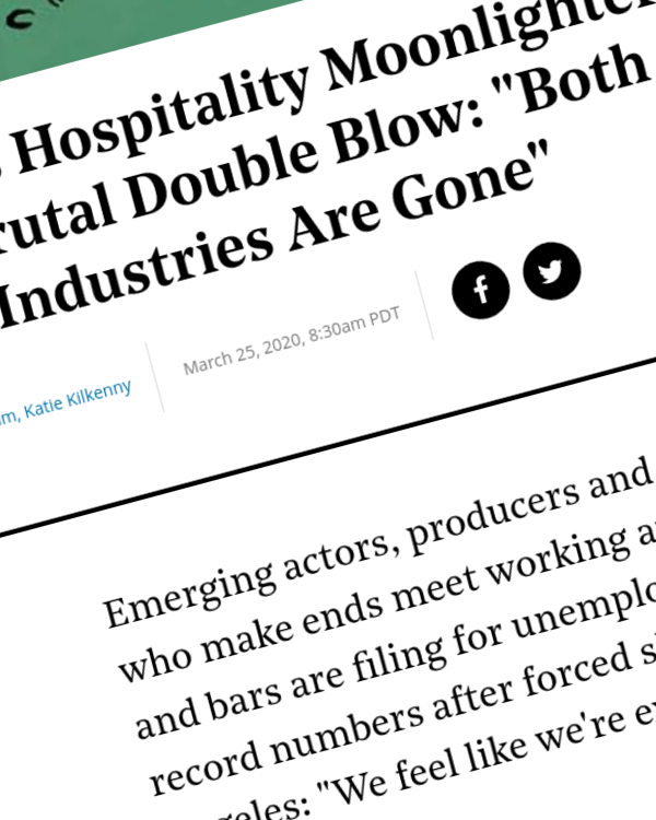 """Fairness Rocks News Hollywood's Hospitality Moonlighters Are Dealt Brutal Double Blow: """"Both of Our Industries Are Gone"""""""