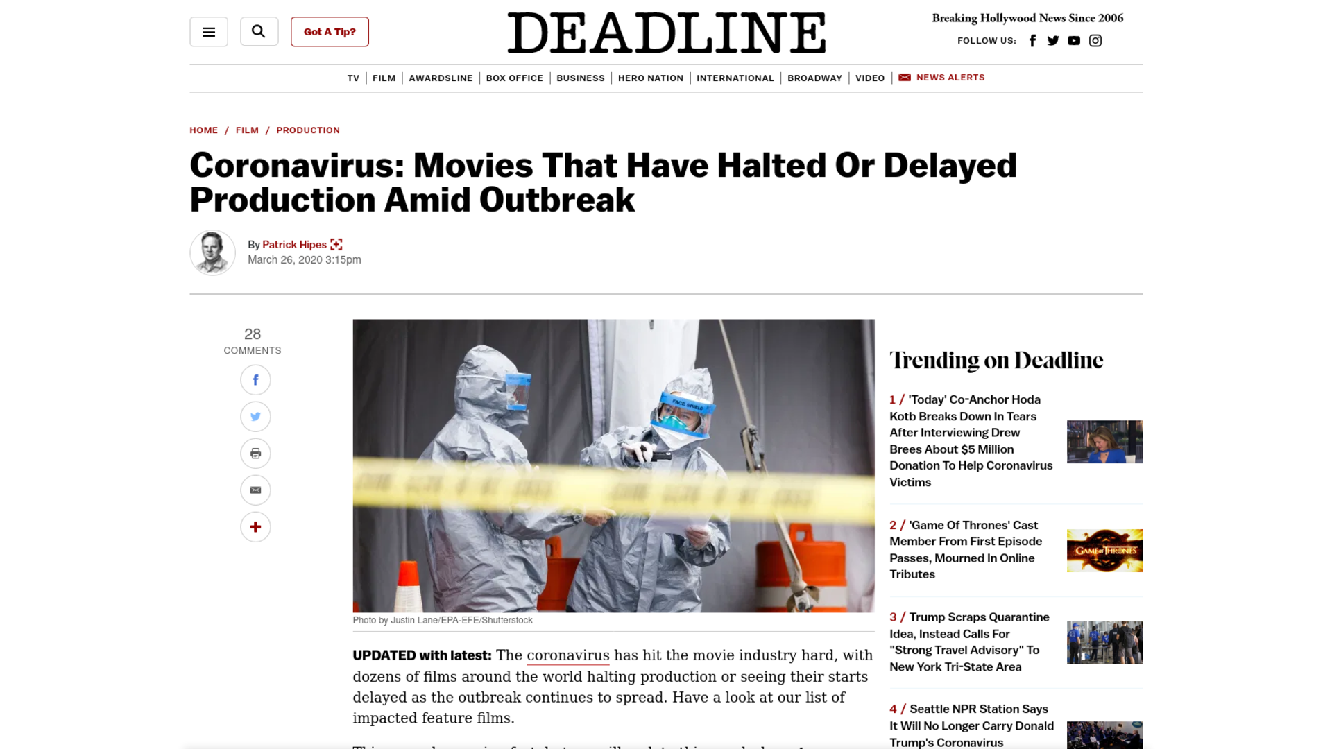 Fairness Rocks News Coronavirus: Movies That Have Halted Or Delayed Production Amid Outbreak