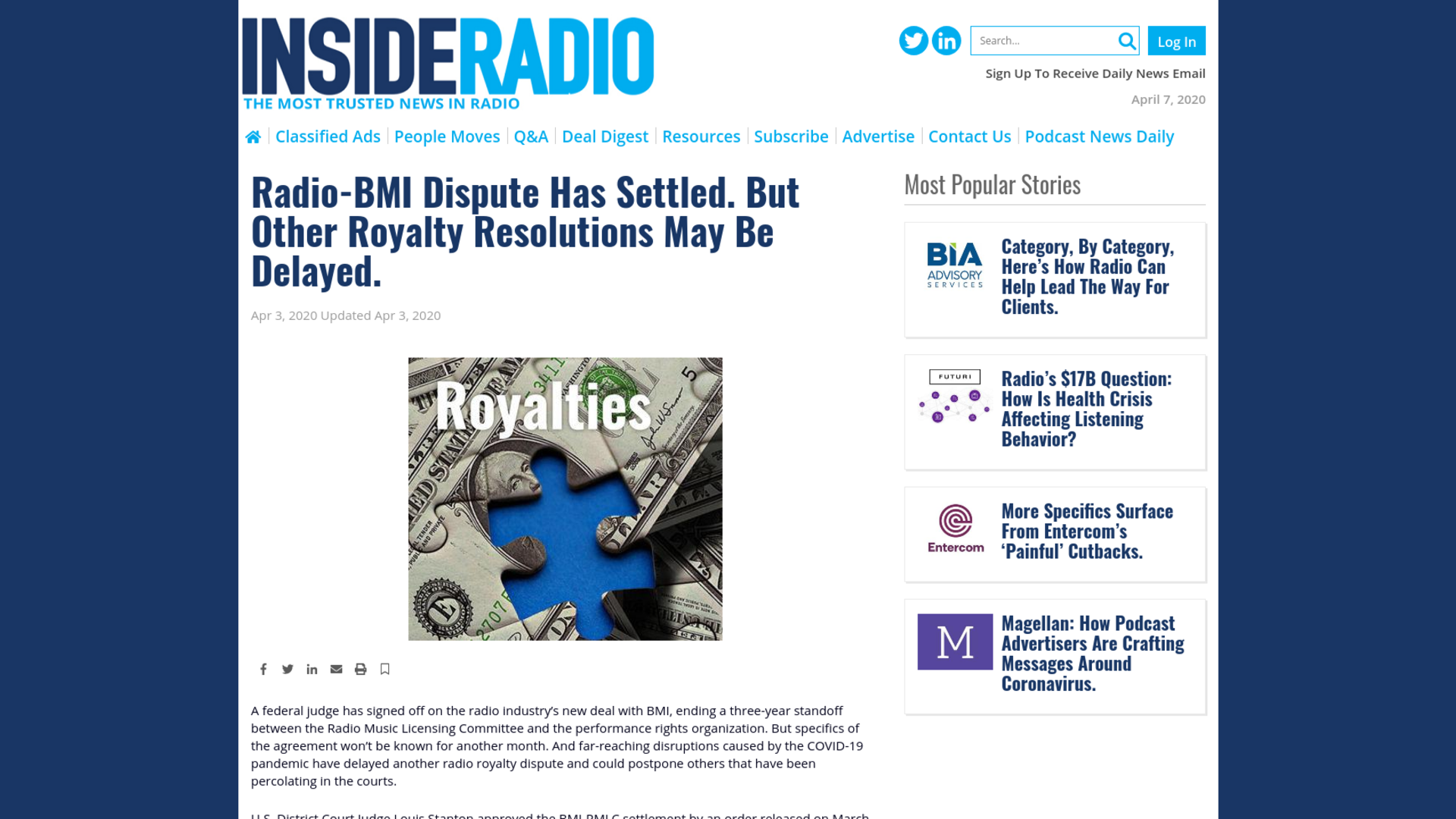 Fairness Rocks News Radio-BMI Dispute Has Settled. But Other Royalty Resolutions May Be Delayed.