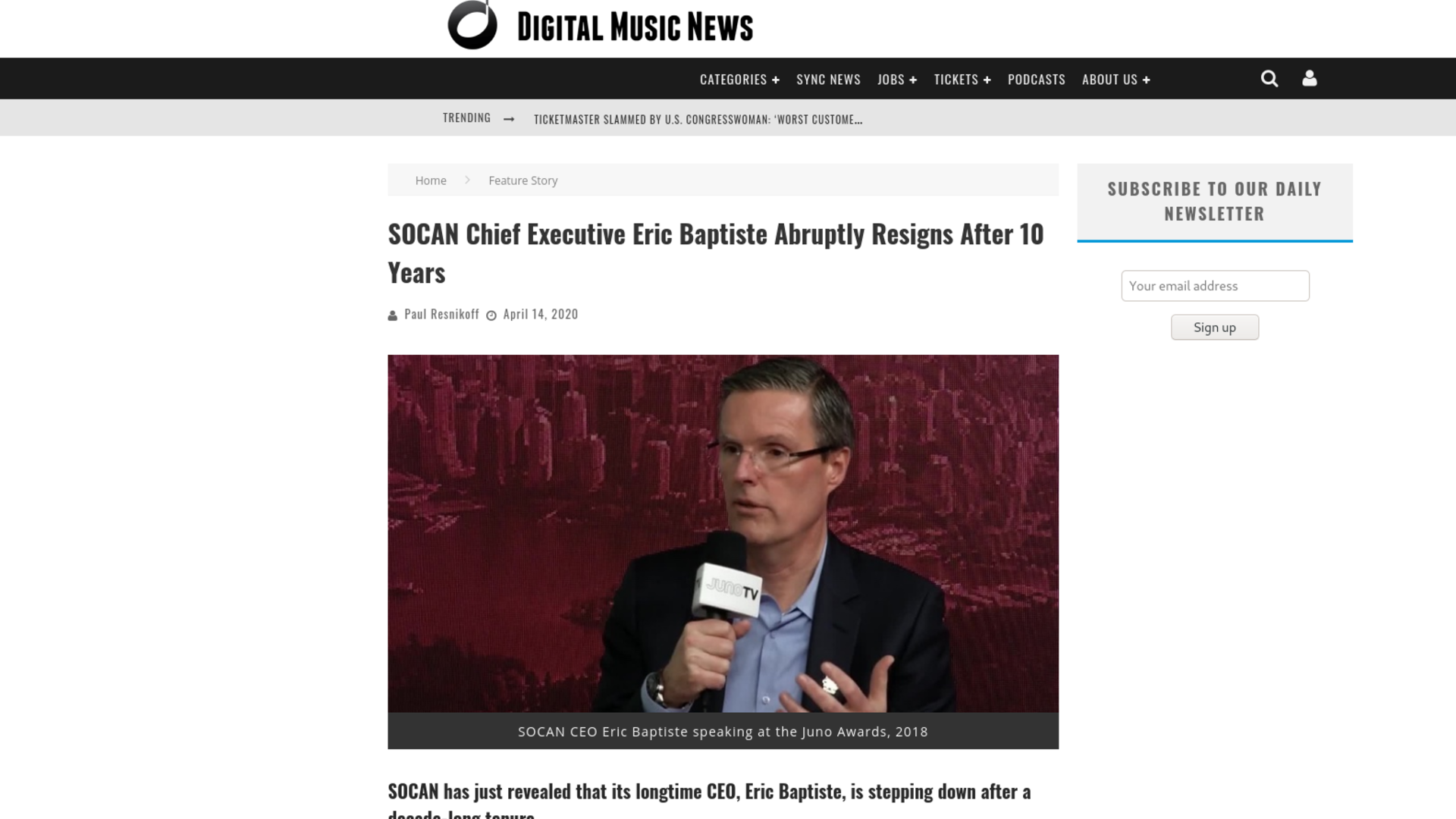 Fairness Rocks News SOCAN Chief Executive Eric Baptiste Abruptly Resigns After 10 Years