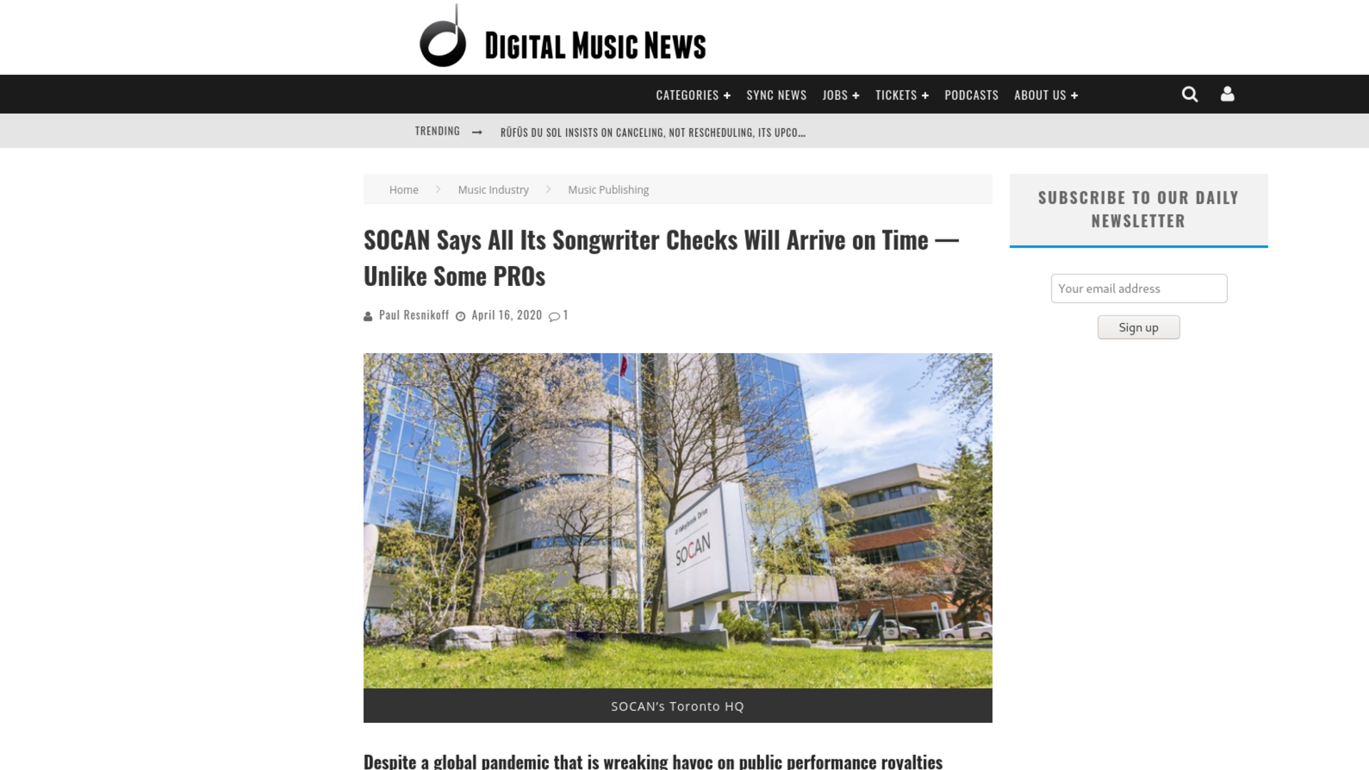 Fairness Rocks News SOCAN Says All Its Songwriter Checks Will Arrive on Time — Unlike Some PROs