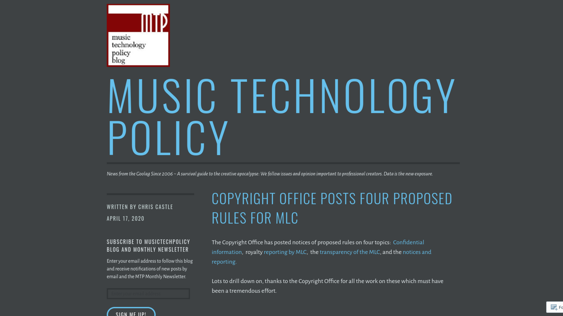 Fairness Rocks News Copyright Office Posts Four Proposed Rules for MLC