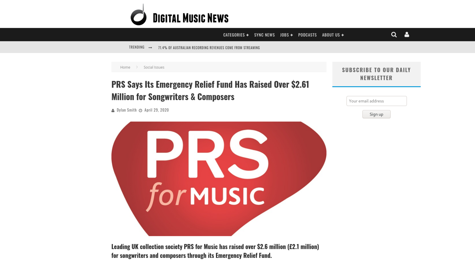 Fairness Rocks News PRS Says Its Emergency Relief Fund Has Raised Over $2.61 Million for Songwriters & Composers