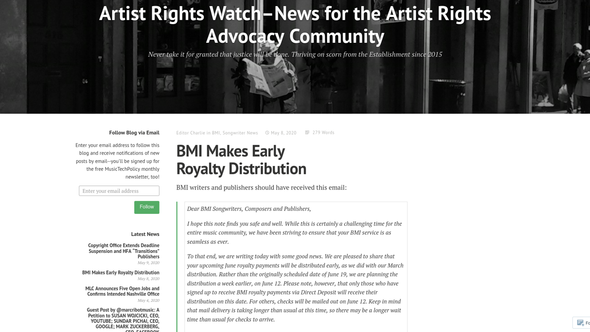 Fairness Rocks News BMI Makes Early Royalty Distribution