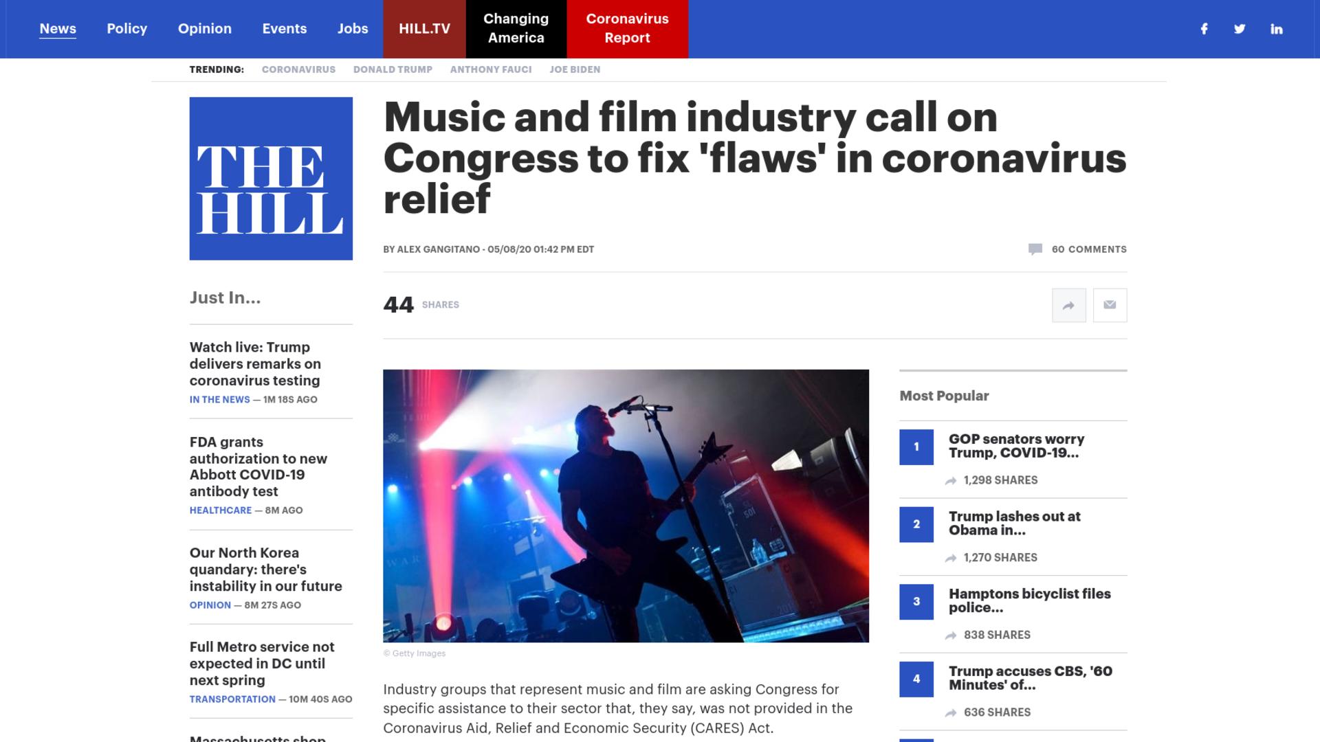 Fairness Rocks News Music and film industry call on Congress to fix 'flaws' in coronavirus relief