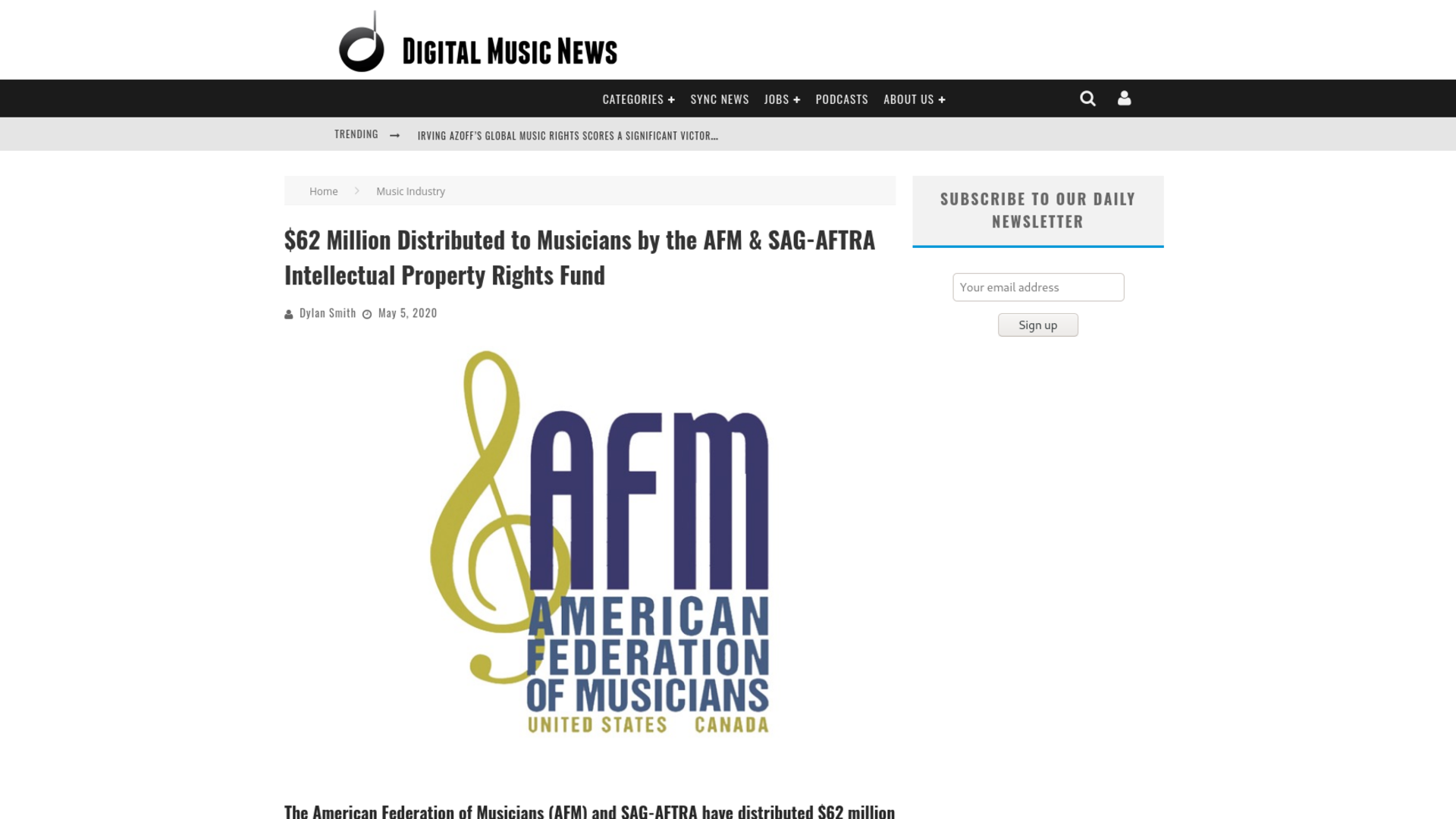 Fairness Rocks News $62 Million Distributed to Musicians by the AFM & SAG-AFTRA Intellectual Property Rights Fund