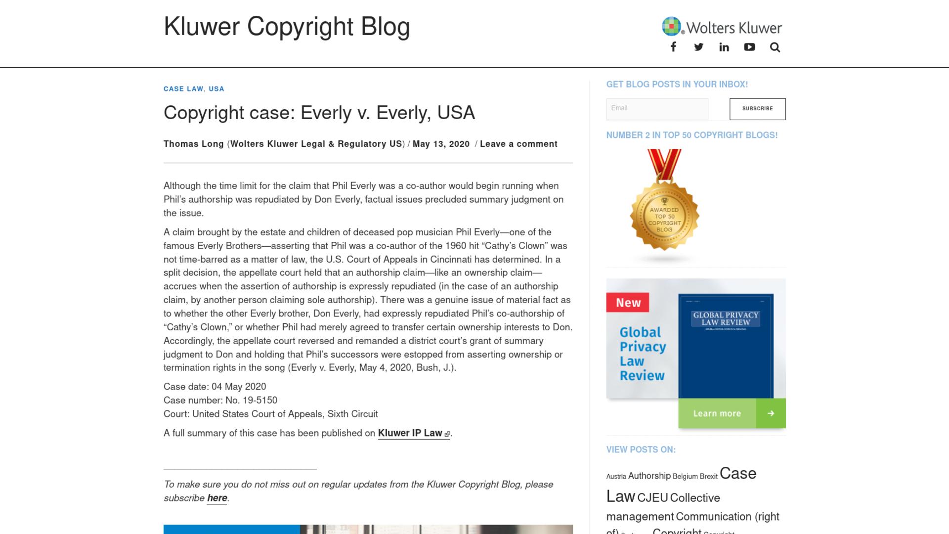 Fairness Rocks News Copyright case: Everly v. Everly, USA