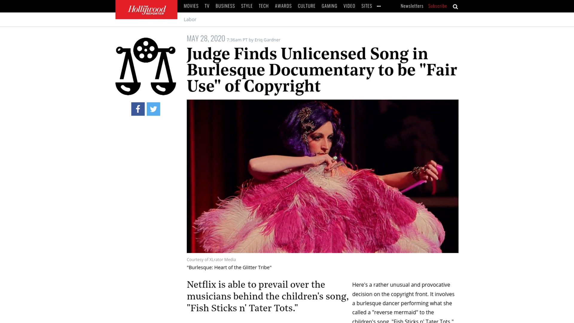 """Fairness Rocks News Judge Finds Unlicensed Song in Burlesque Documentary to be """"Fair Use"""" of Copyright"""