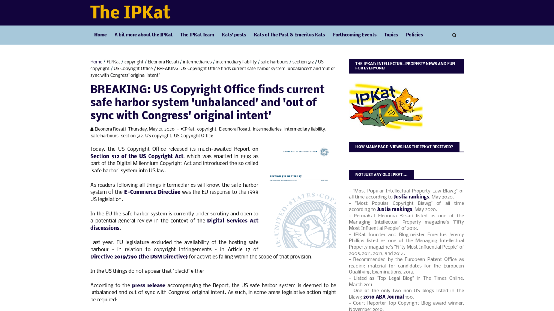 Fairness Rocks News BREAKING: US Copyright Office finds current safe harbor system 'unbalanced' and 'out of sync with Congress' original intent'