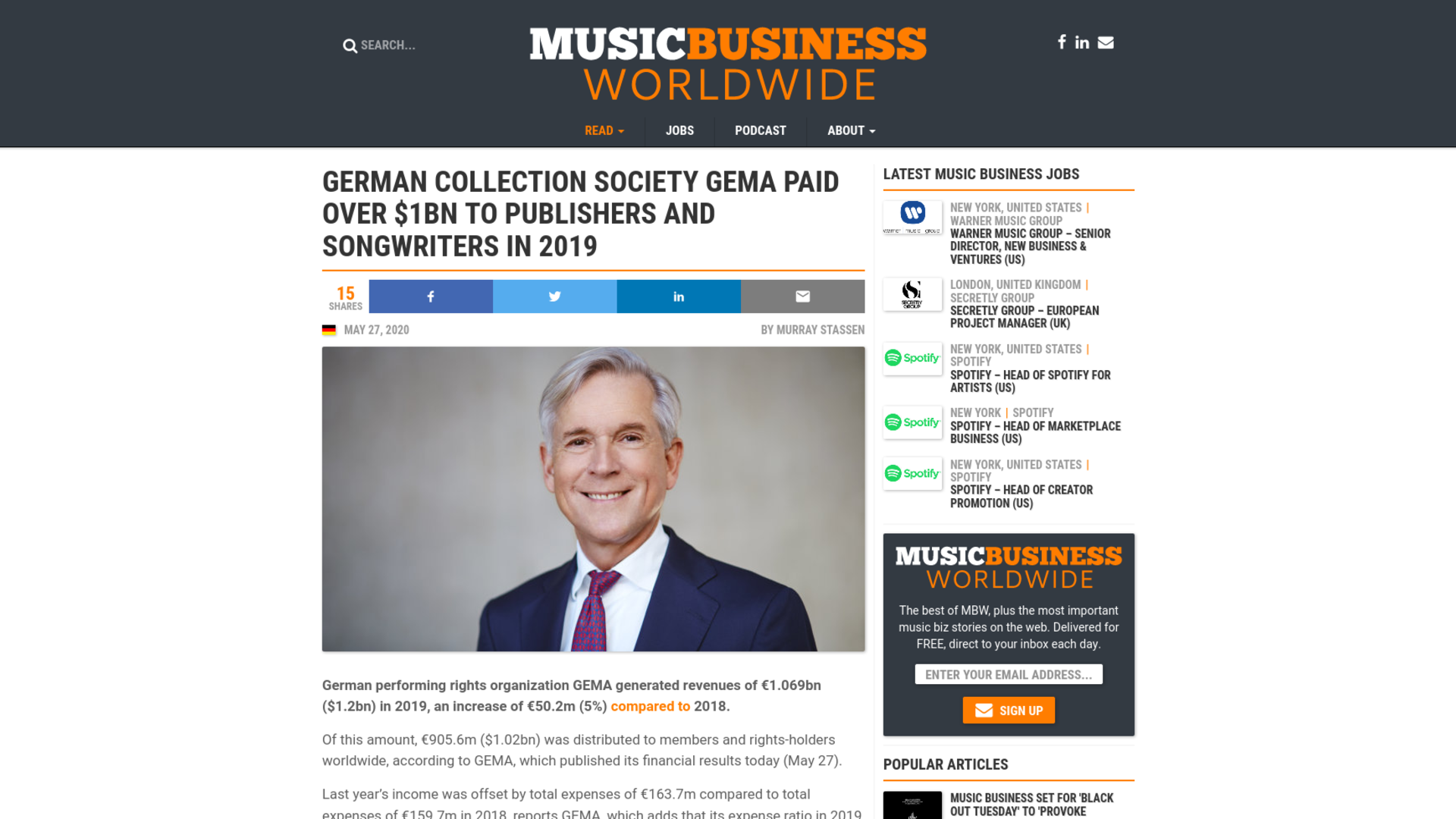 Fairness Rocks News German collection society GEMA paid over $1bn to publishers and songwriters in 2019