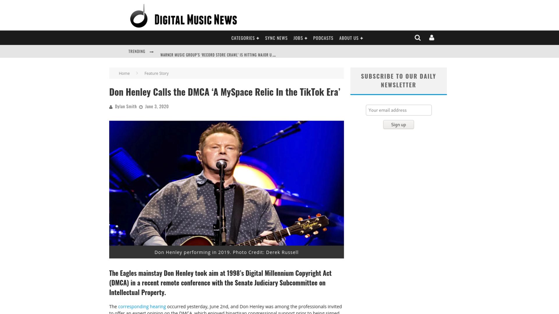 Fairness Rocks News Don Henley Calls the DMCA 'A MySpace Relic In the TikTok Era'