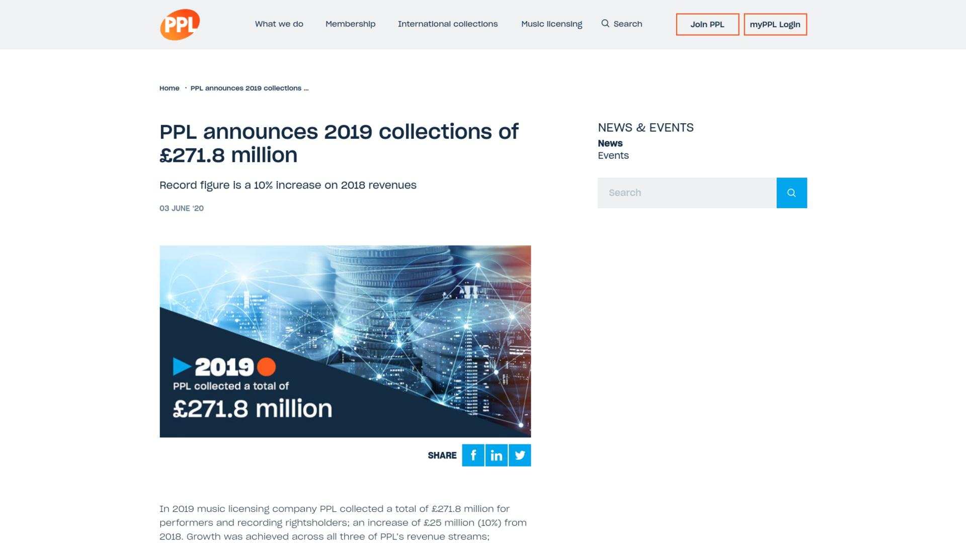 Fairness Rocks News PPL announces 2019 collections of £271.8 million