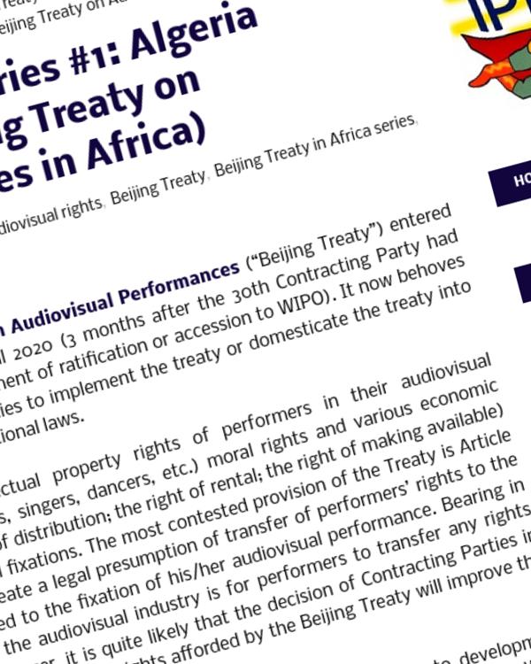 Fairness Rocks News Beijing Treaty in Africa series #1: Algeria (Implementing the Beijing Treaty on Audiovisual Performances in Africa)