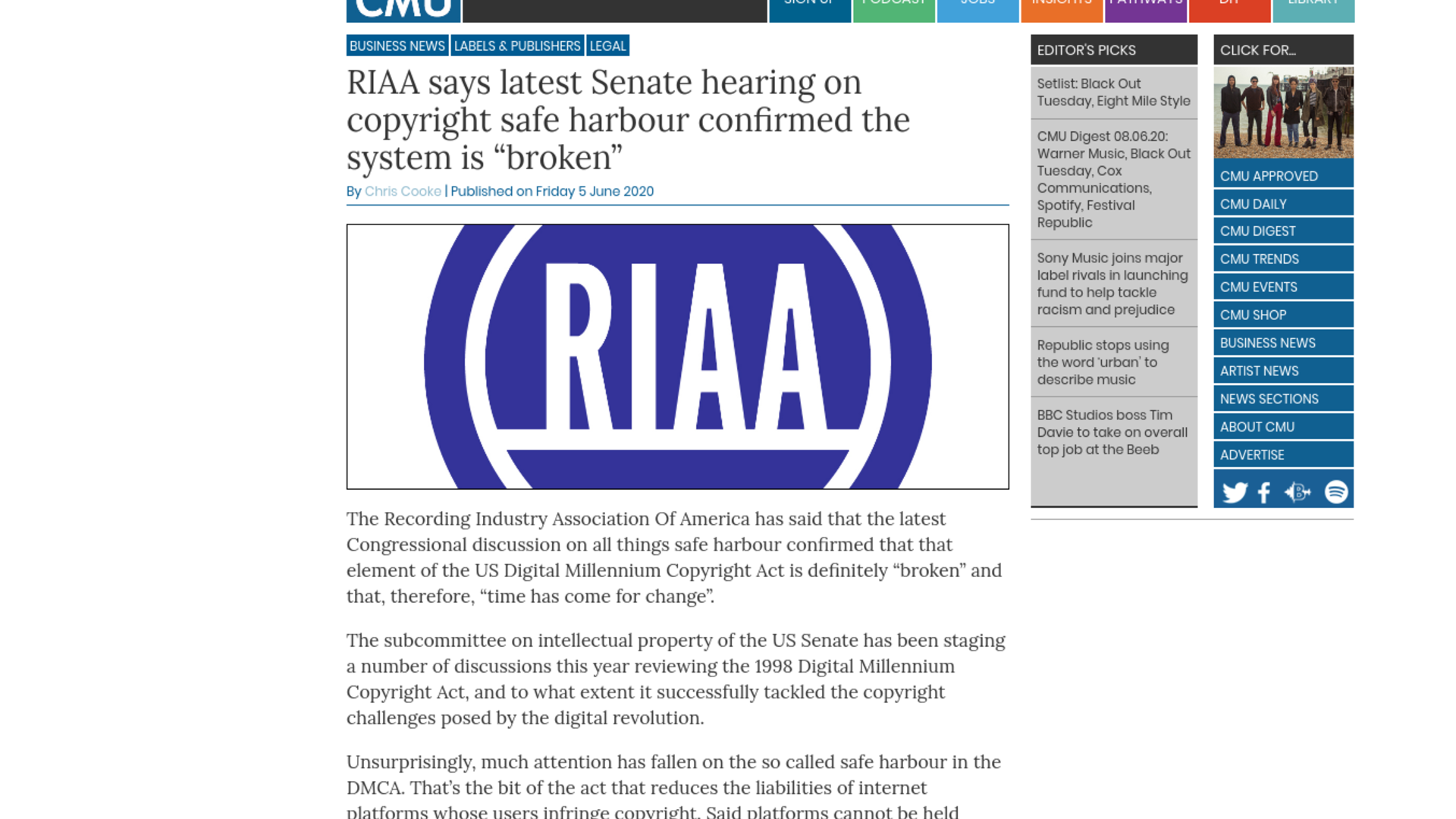 """Fairness Rocks News RIAA says latest Senate hearing on copyright safe harbour confirmed the system is """"broken"""""""