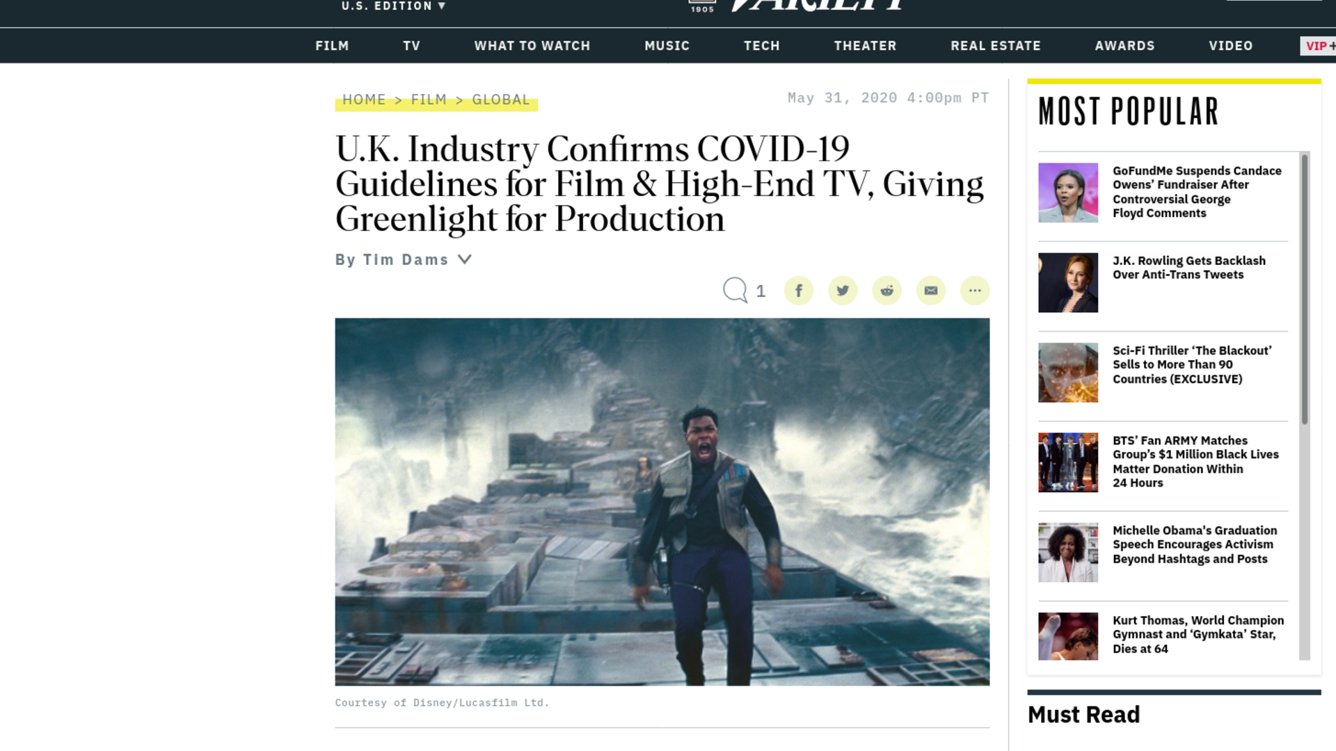 Fairness Rocks News U.K. Industry Confirms COVID-19 Guidelines for Film & High-End TV, Giving Greenlight for Production