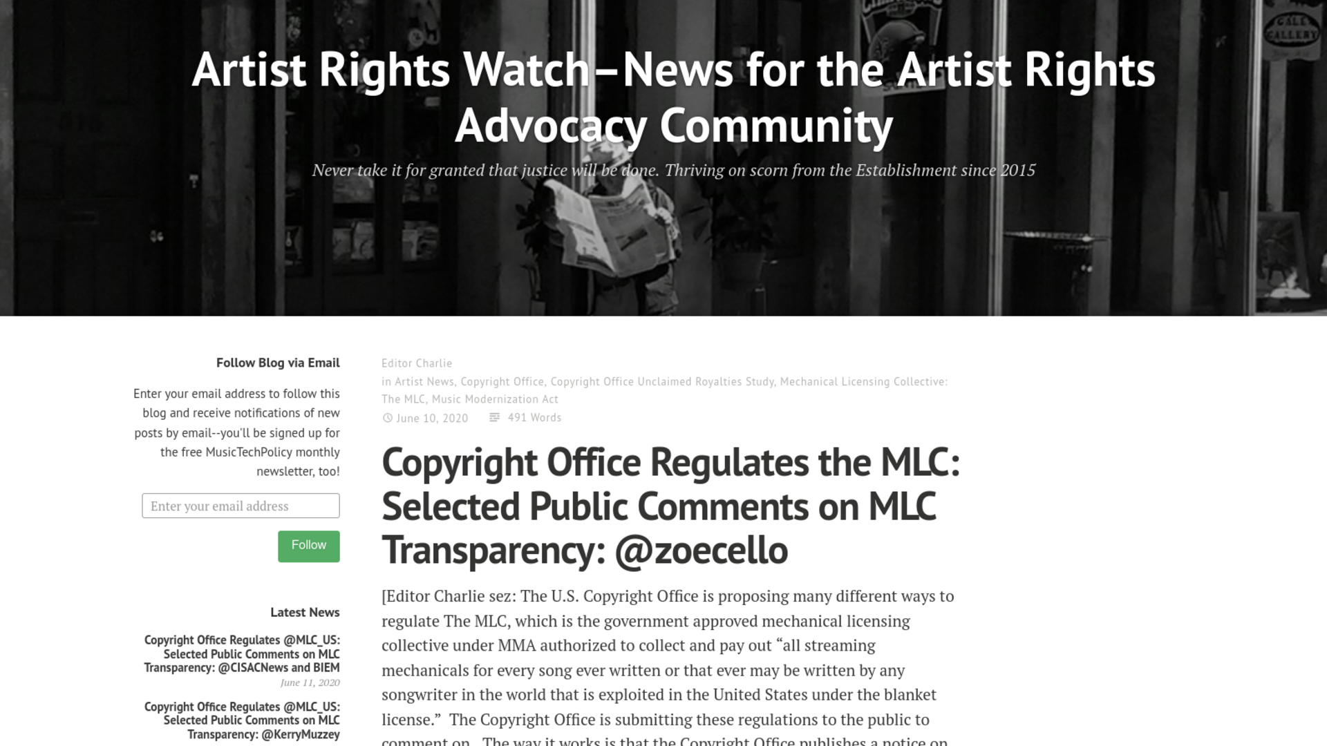 Fairness Rocks News Copyright Office Regulates the MLC: Selected Public Comments on MLC Transparency: @zoecello