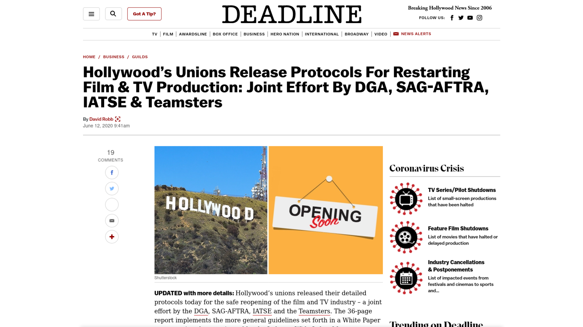Fairness Rocks News Hollywood's Unions Release Protocols For Restarting Film & TV Production: Joint Effort By DGA, SAG-AFTRA, IATSE & Teamsters