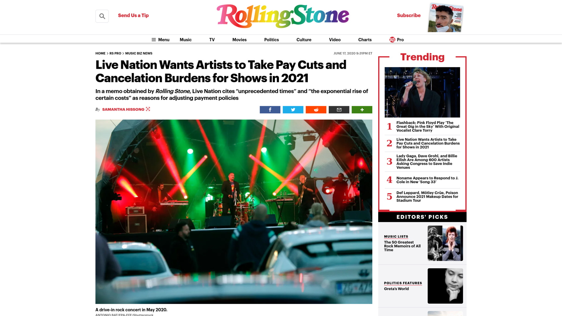 Fairness Rocks News Live Nation Wants Artists to Take Pay Cuts and Cancelation Burdens for Shows in 2021
