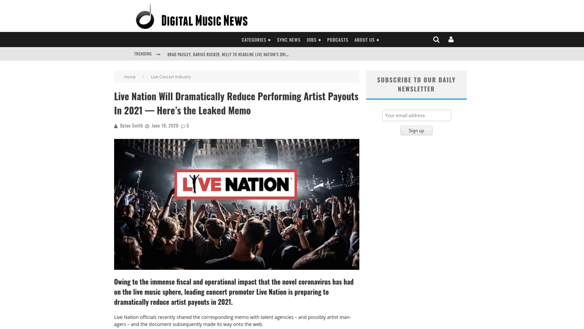 Fairness Rocks News Live Nation Will Dramatically Reduce Performing Artist Payouts In 2021 — Here's the Leaked Memo