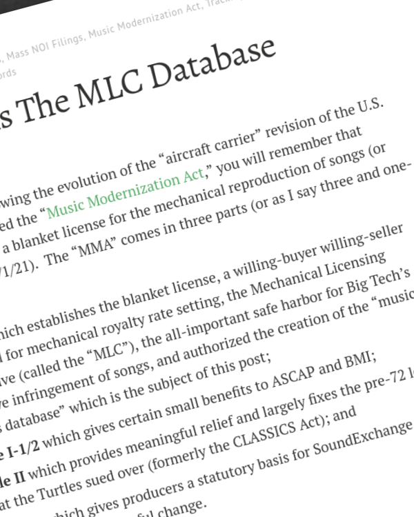 Fairness Rocks News Who Owns The MLC Database of Songs?