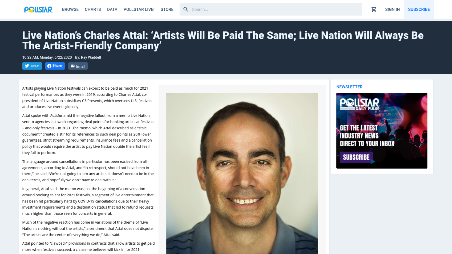 Fairness Rocks News Live Nation's Charles Attal: 'Artists Will Be Paid The Same; Live Nation Will Always Be The Artist-Friendly Company'