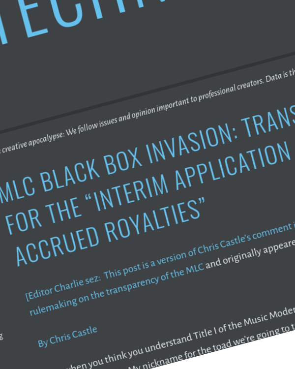 "Fairness Rocks News MLC Black Box Invasion: Transparency for the ""Interim Application of Accrued Royalties"""
