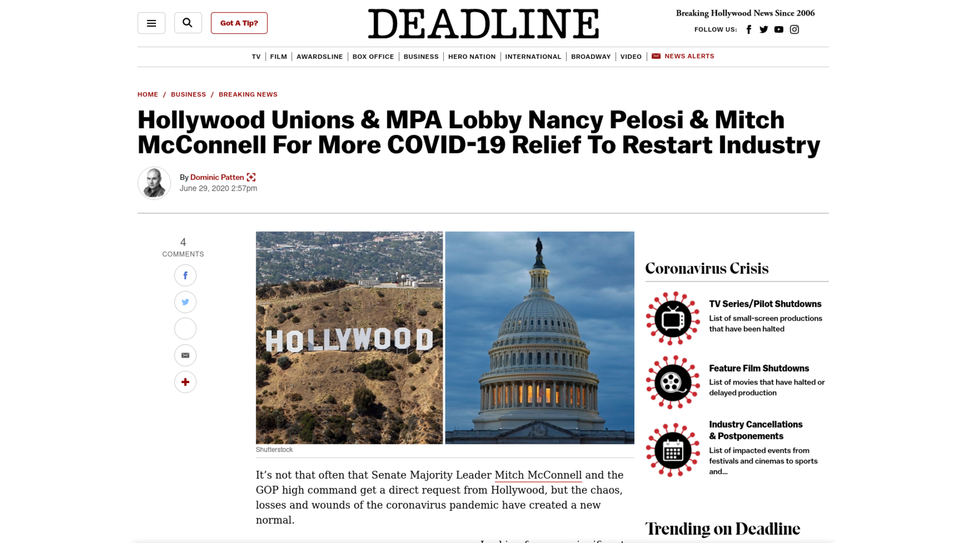Fairness Rocks News Hollywood Unions & MPA Lobby Nancy Pelosi & Mitch McConnell For More COVID-19 Relief To Restart Industry