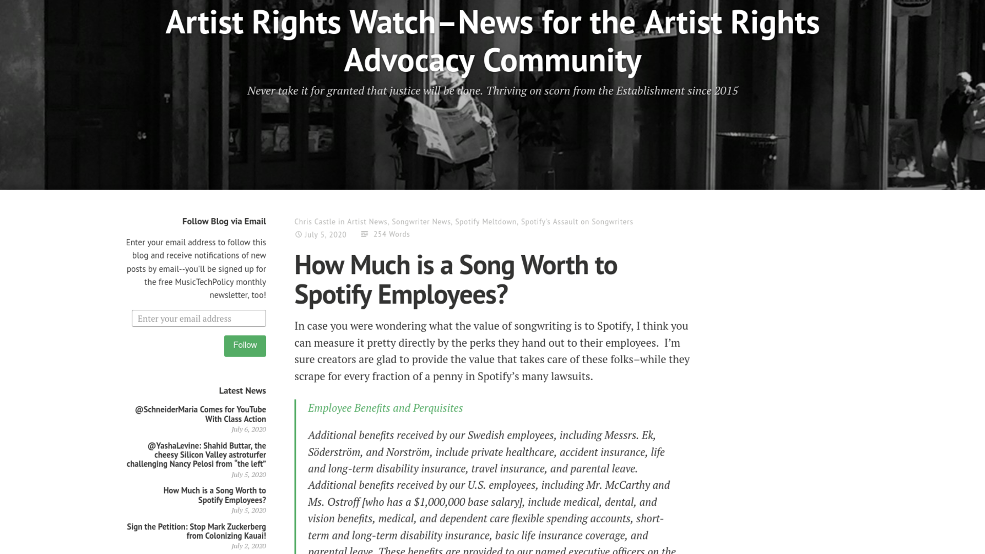 Fairness Rocks News How Much is a Song Worth to Spotify Employees?