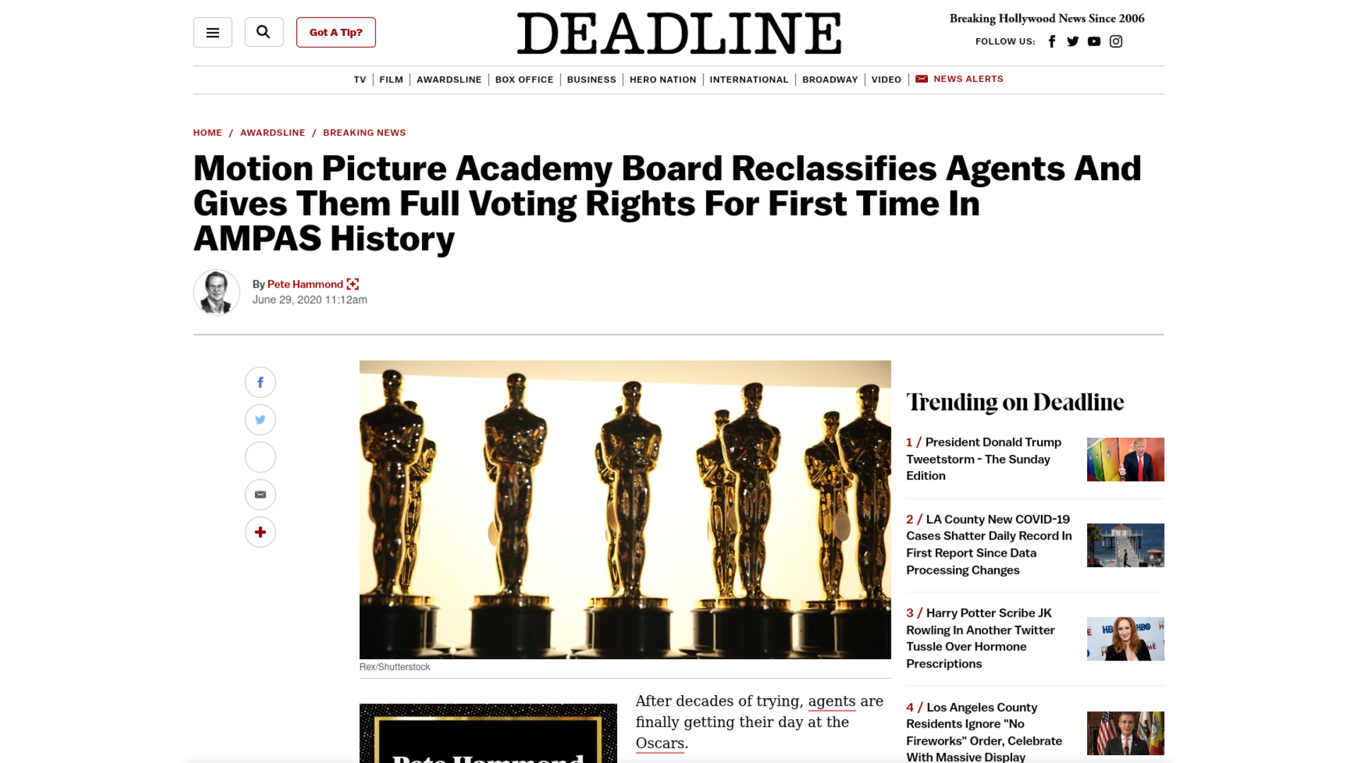 Fairness Rocks News Motion Picture Academy Board Reclassifies Agents And Gives Them Full Voting Rights For First Time In AMPAS History