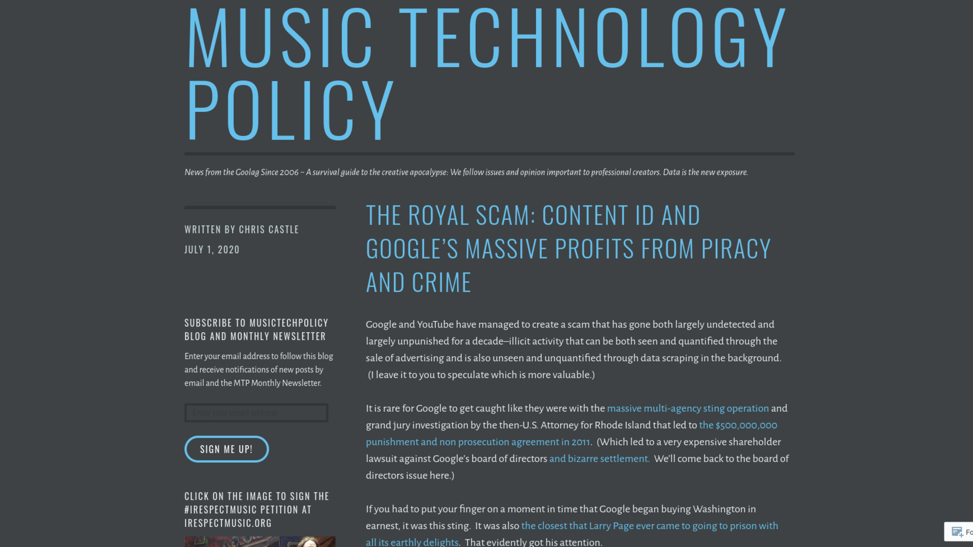 Fairness Rocks News The Royal Scam: Content ID and Google's Massive Profits From Piracy and Crime
