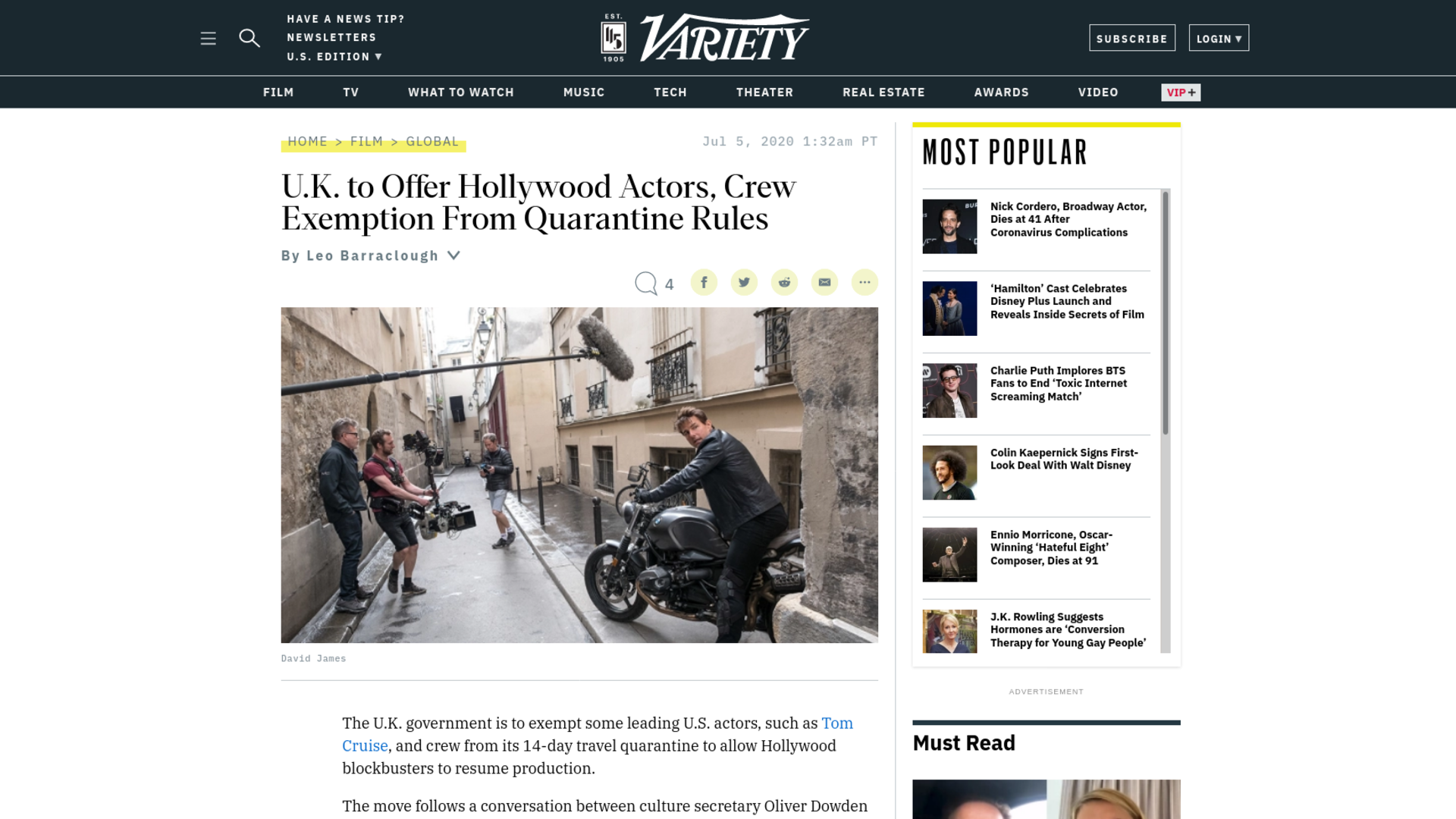 Fairness Rocks News U.K. to Offer Hollywood Actors, Crew Exemption From Quarantine Rules