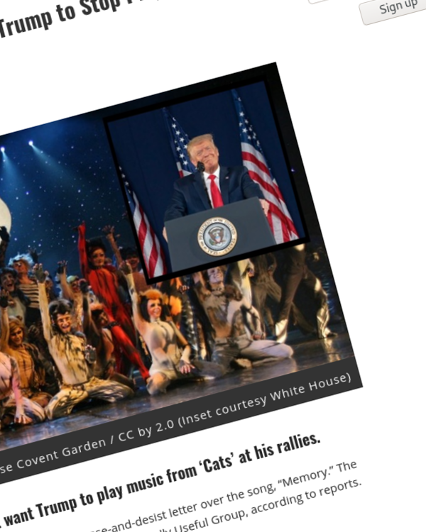 Fairness Rocks News Andrew Lloyd Webber Tells Donald Trump to Stop Playing 'Cats' at His Rallies