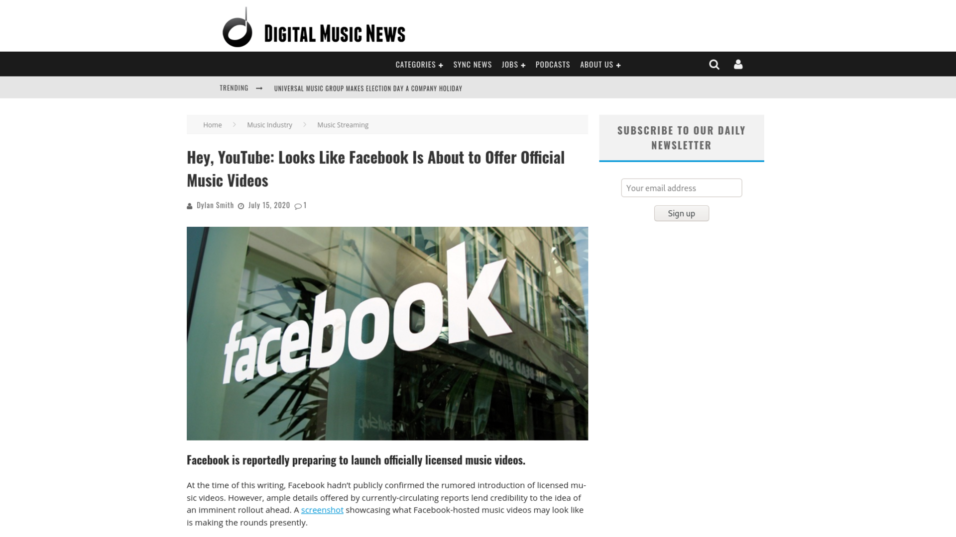 Fairness Rocks News Hey, YouTube: Looks Like Facebook Is About to Offer Official Music Videos
