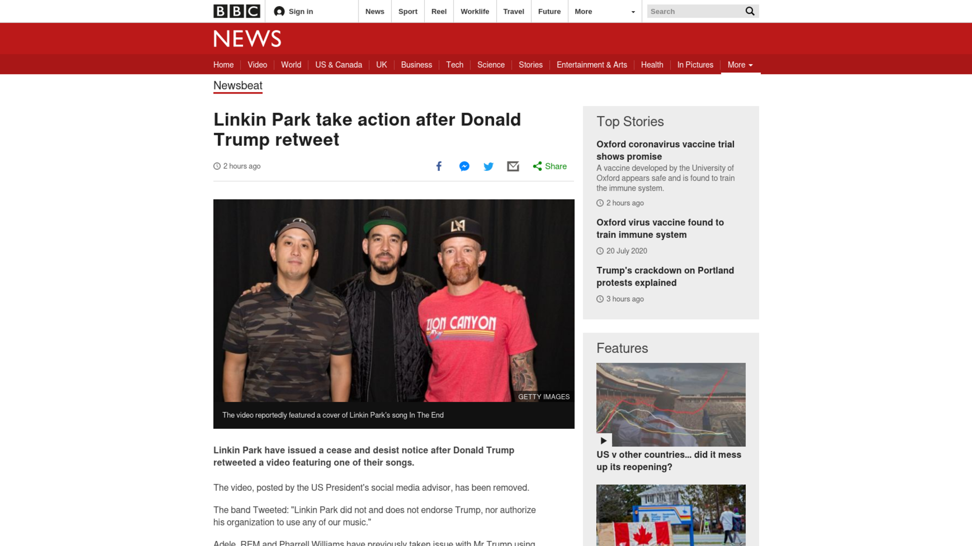 Fairness Rocks News Linkin Park take action after Donald Trump retweet