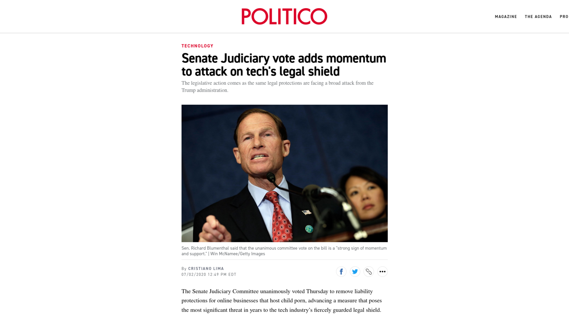 Fairness Rocks News Senate Judiciary vote adds momentum to attack on tech's legal shield