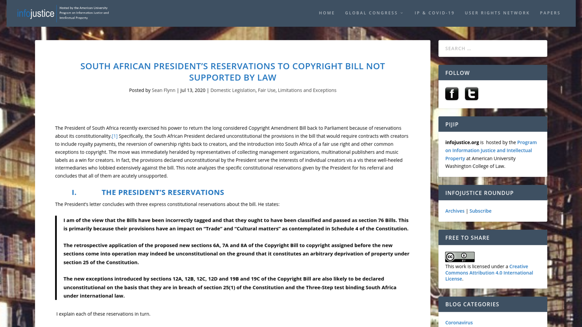 Fairness Rocks News South African President's Reservations to Copyright Bill Not Supported by Law