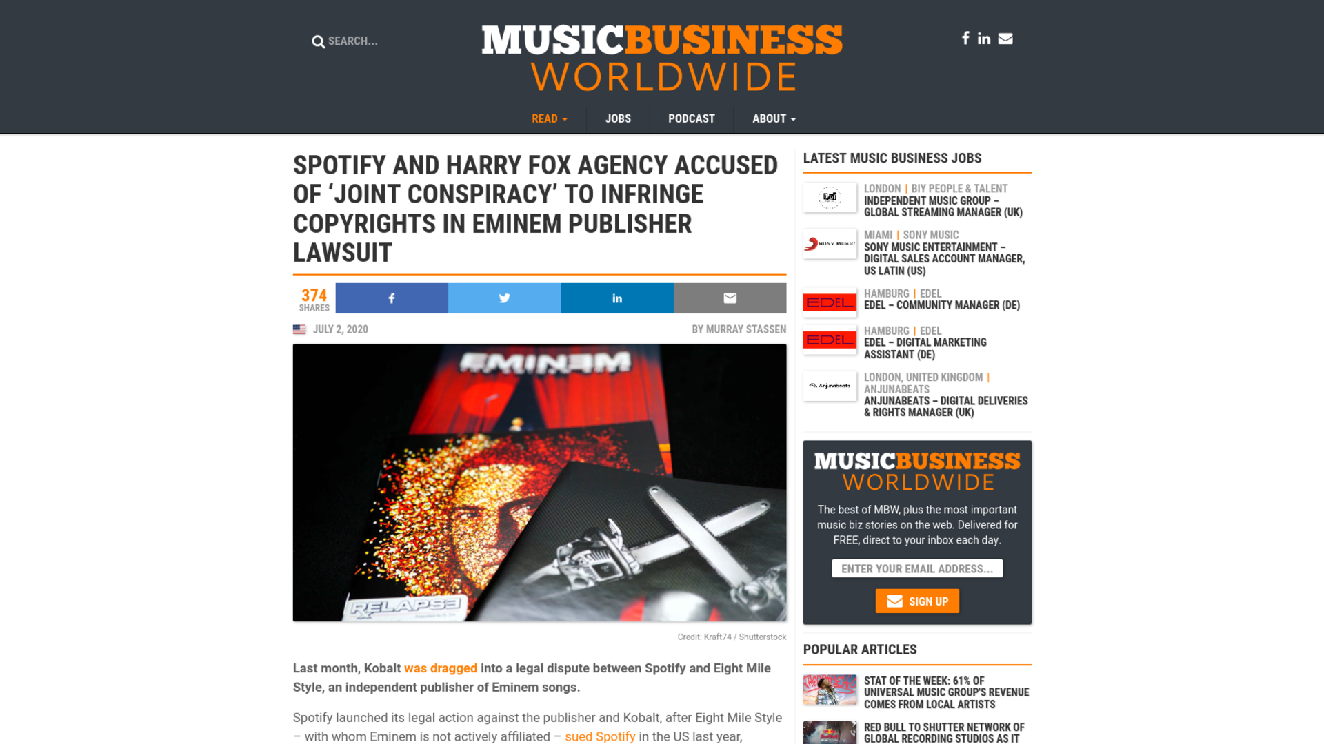 Fairness Rocks News Spotify and Harry Fox Agency accused of 'joint conspiracy' to infringe copyrights in Eminem publisher lawsuit