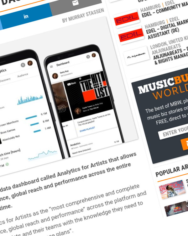 Fairness Rocks News YouTube launches new real-time Analytics for Artists dashboard