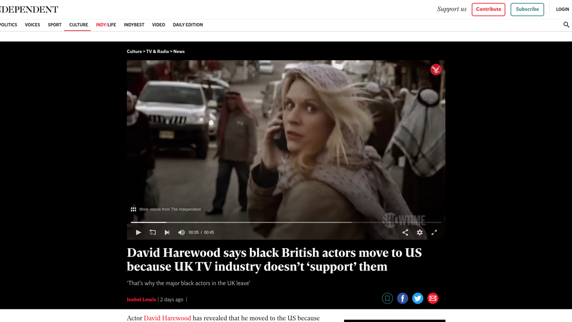 Fairness Rocks News David Harewood says black British actors move to US because UK TV industry doesn't 'support' them