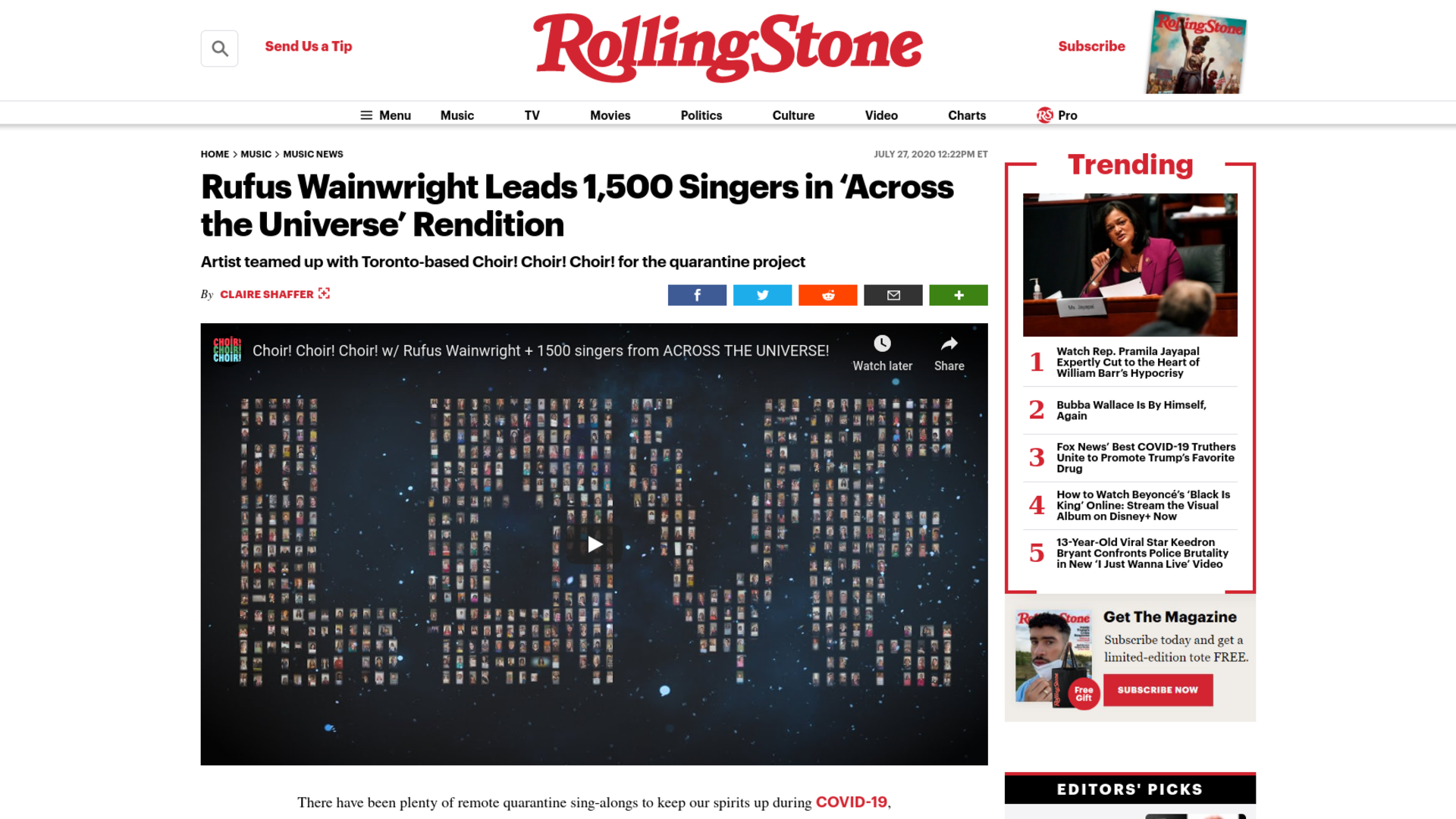 Fairness Rocks News Rufus Wainwright Leads 1,500 Singers in 'Across the Universe' Rendition