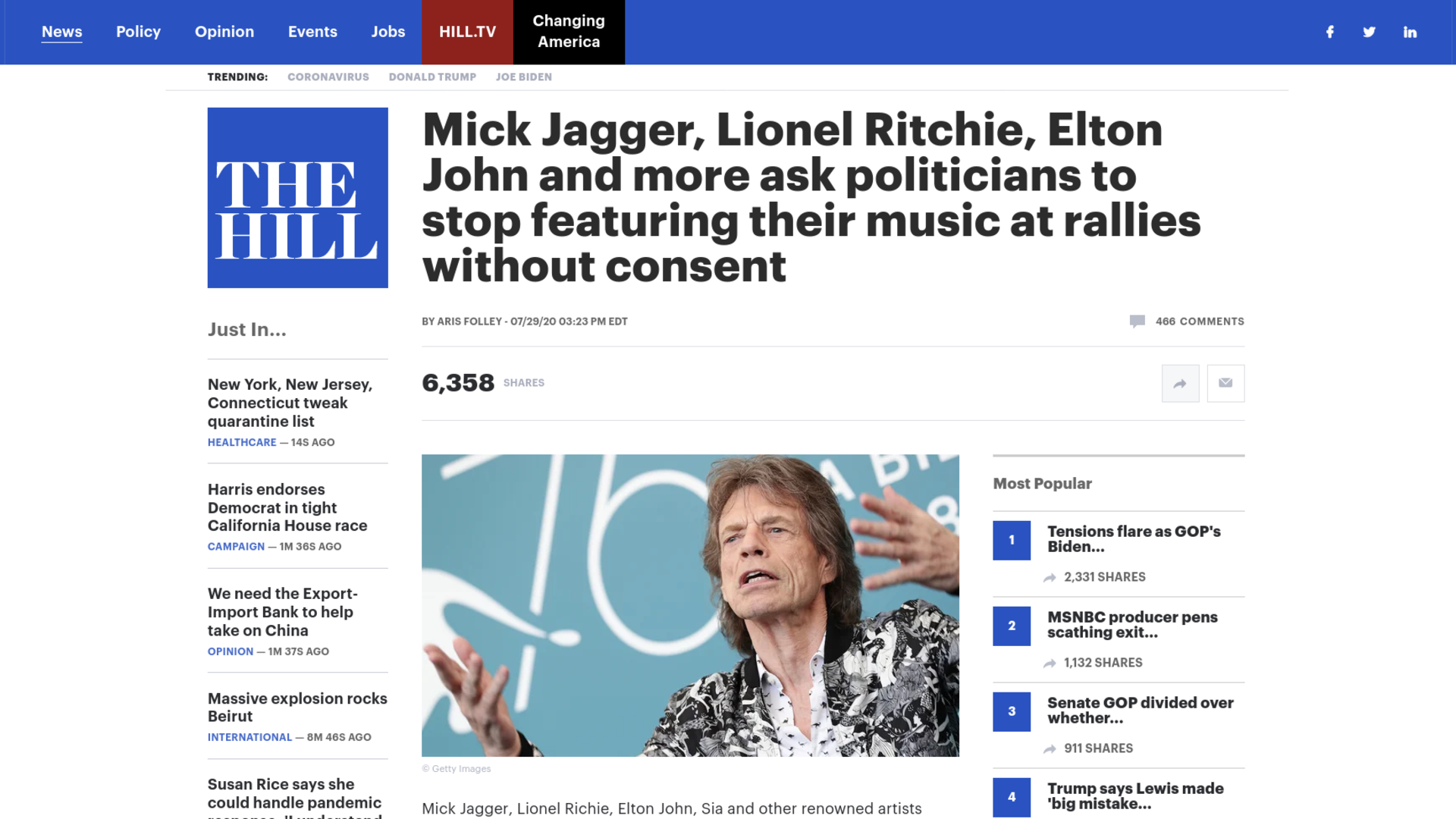 Fairness Rocks News Mick Jagger, Lionel Ritchie, Elton John and more ask politicians to stop featuring their music at rallies without consent