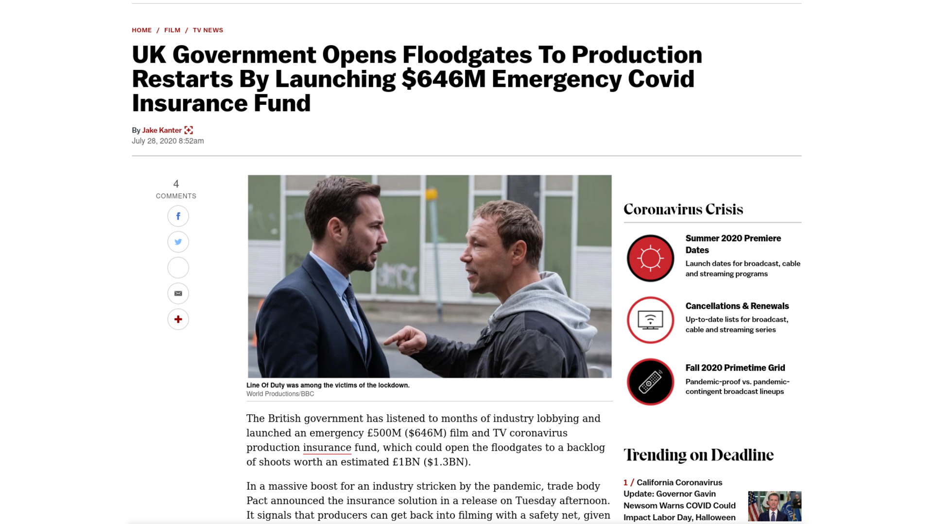 Fairness Rocks News UK Government Opens Floodgates To Production Restarts By Launching $646M Emergency Covid Insurance Fund