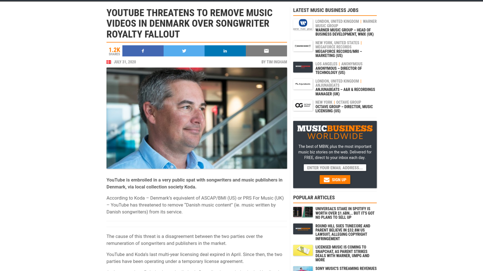 Fairness Rocks News YouTube threatens to remove music videos in Denmark over songwriter royalty fallout