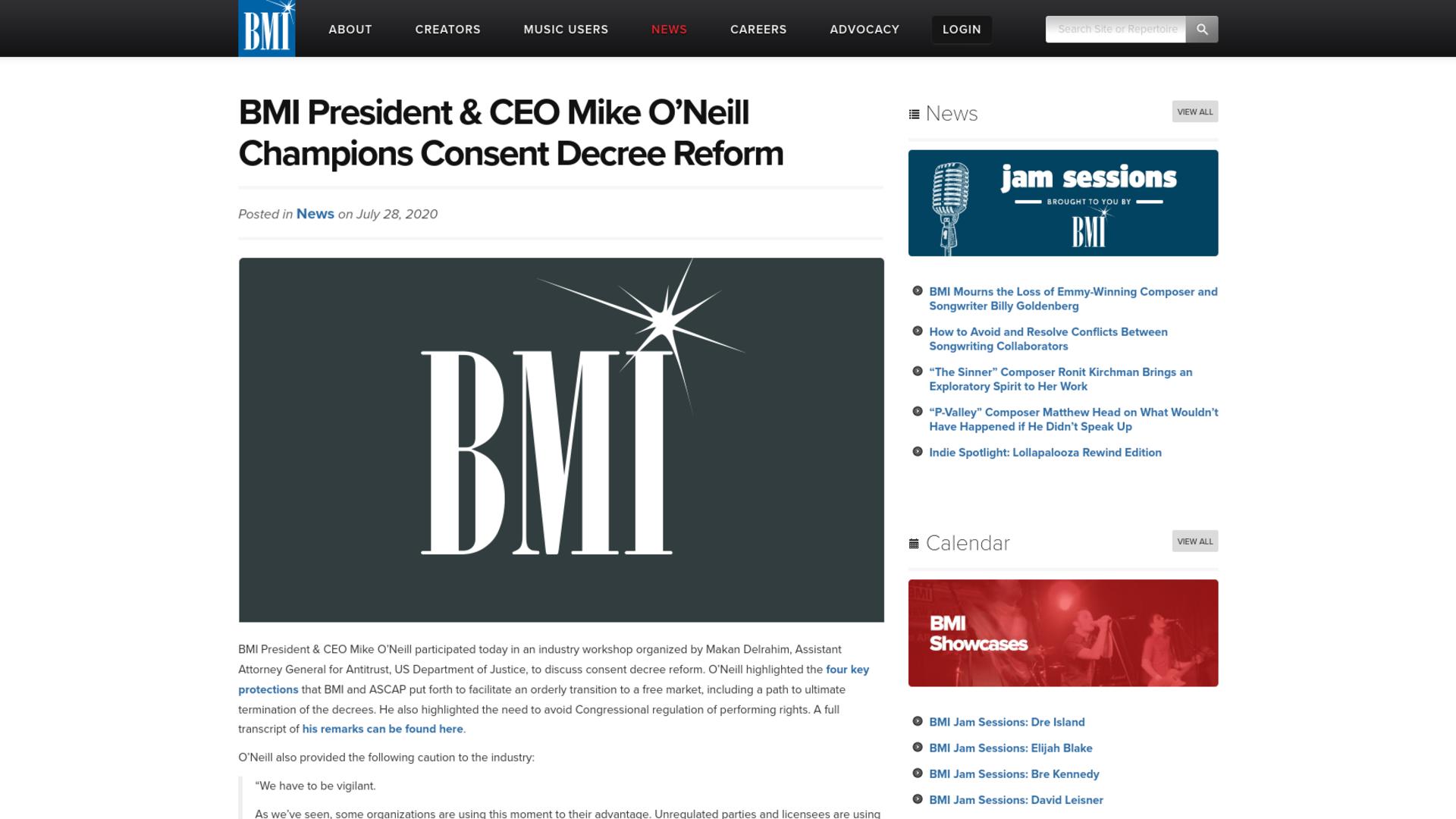 Fairness Rocks News BMI President & CEO Mike O'Neill Champions Consent Decree Reform
