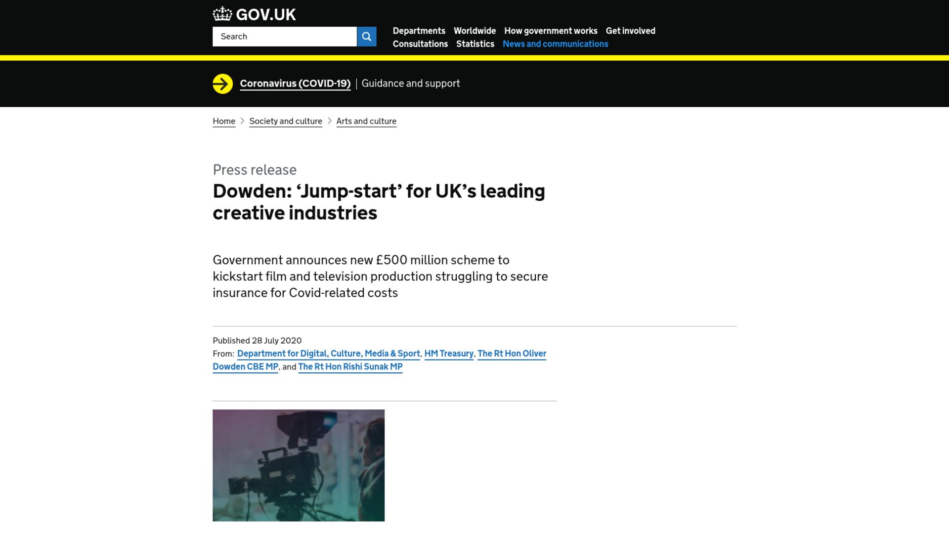 Fairness Rocks News Dowden: 'Jump-start' for UK's leading creative industries